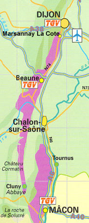 Burgundy Route Grand Crus Road TGV Map image