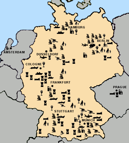 Clickable Story Map for Germany Travel Destinations on Bargain ... Germany Travel Maps