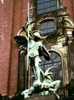 Archangel Michael slaying the devil Hamburg's St Michels kirche photo