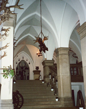 Neo gothic hall at haunted Rhine Castle Reichenstein photo