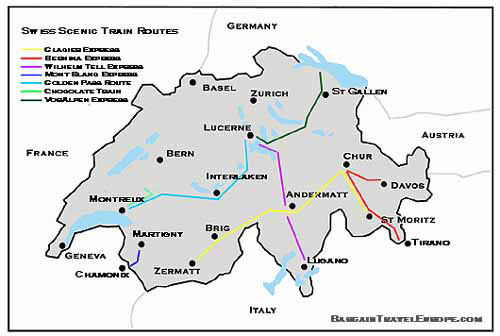 Switzerland Scenic Trains Long Distance Panoramic Trains – Swiss Travel System Map